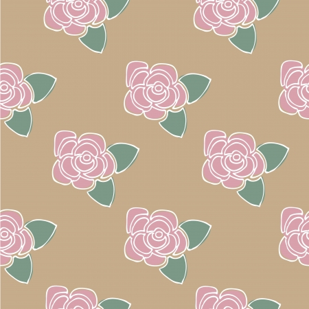 Pink roses flower seamless background pattern, Vector illustration