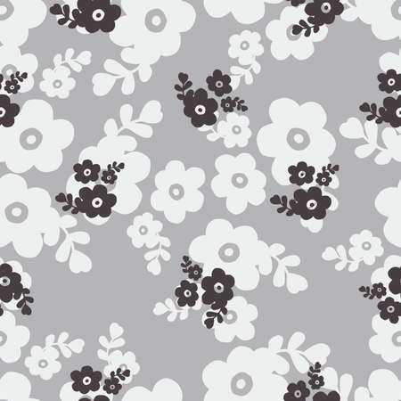 Seamless black and white color of cute flower pattern illustration background