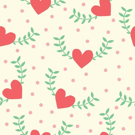 Seamless pattern of Heart shape with green leaf background, vector illustration