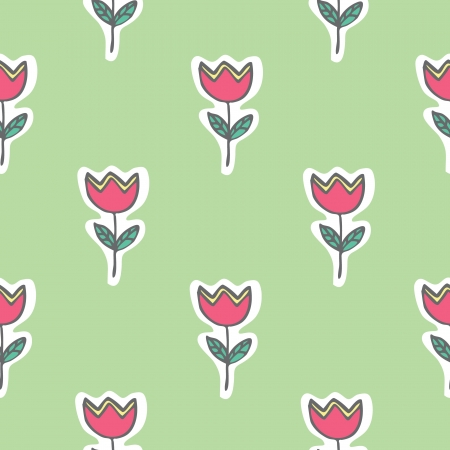 Seamless pattern of tulip flowers vector illustration background Illustration