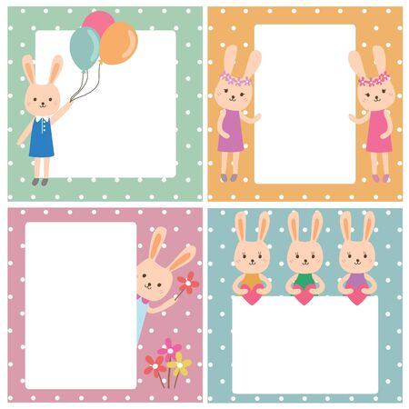 rabbit cartoon frame background, Vector illustration