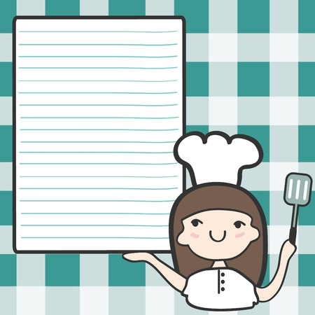 gourmet cooks: Cute girl chef with an empty space, Cartoon illustration