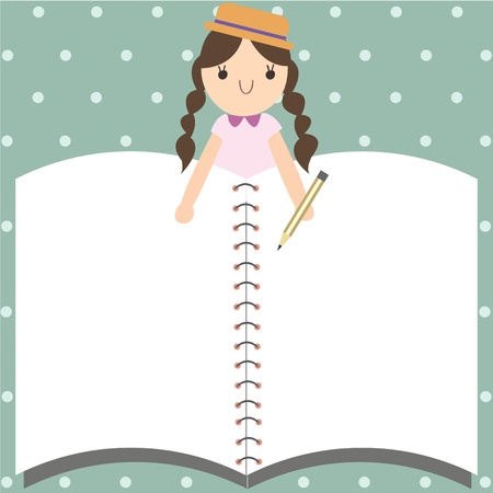 Empty space notebook with cute girl, Vector illustration