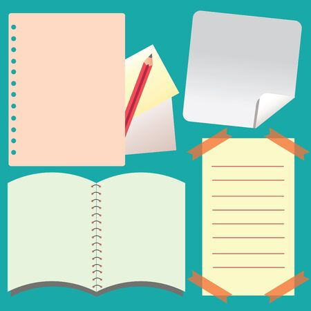 Notepad and Notebook paper isolated background,  illustration Stock Vector - 18790107