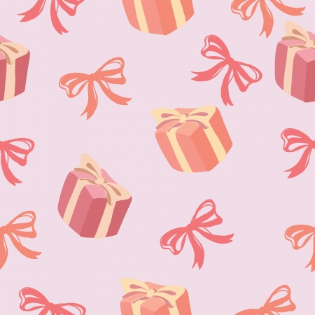 Seamless background of Gift box and ribbon bow pattern ,  illustration