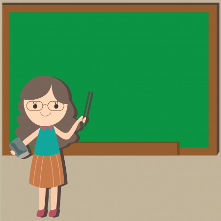 Girl teacher with empty space background, Cartoon illustration Vector