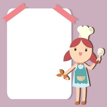 Little chef with empty space background, Cartoon illustration