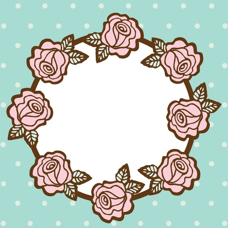 cute border: Frame of flower on empty space,  illustration
