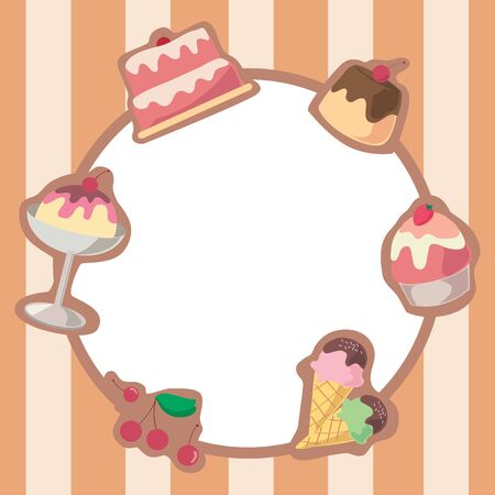 Cake And Ice Cream Frame Background Vector