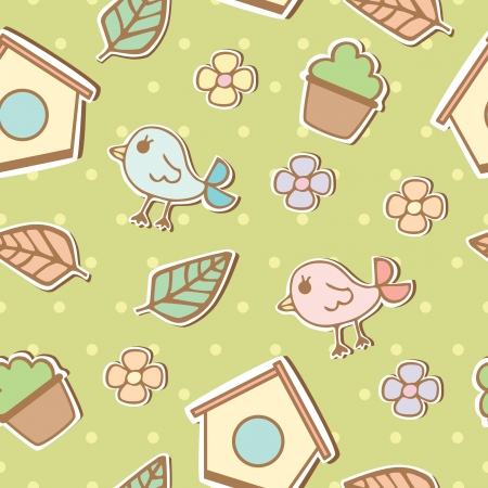 Seamless pattern of birds and flowers illustration background Vector