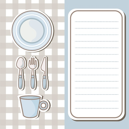 Set of tableware with note paper background  Stock Vector - 19004603