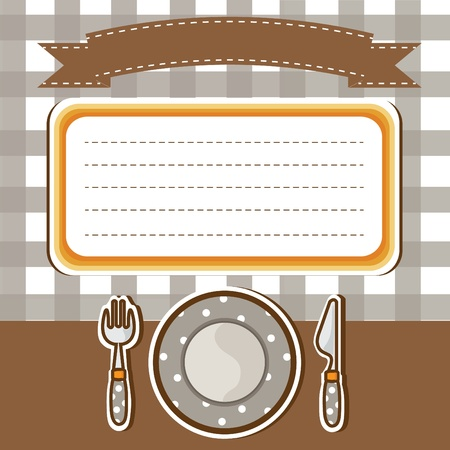 Set of tableware with note paper background   Stock Vector - 19004586