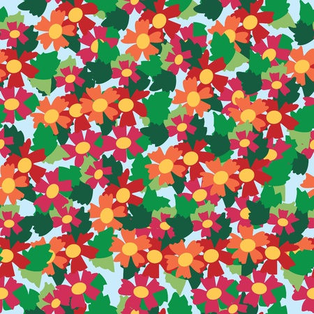 Seamless pattern of colorful flower and leaf background