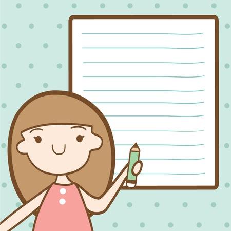 Girl with blank paper for your text  Illustration