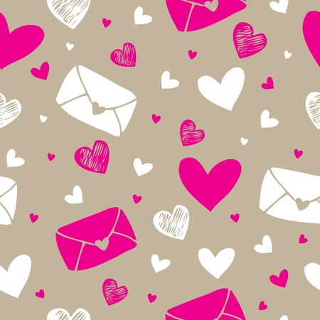 Love letter and hearts  seamless pattern background  Vector