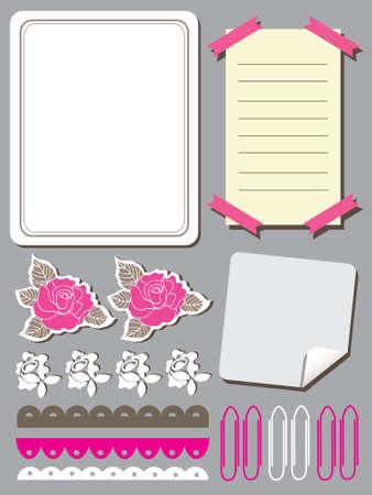 Set of cute flower elements for scrapbook  Vector