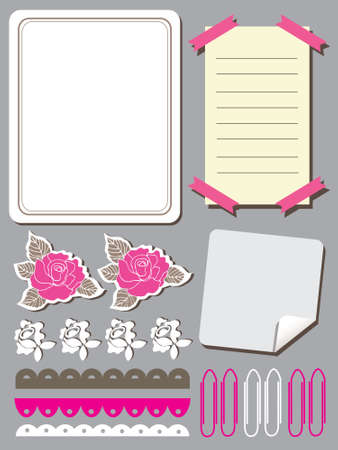 Set of cute flower elements for scrapbook  일러스트