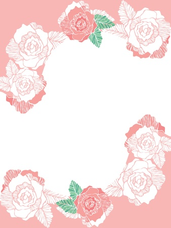 Frame of rose flower on empty space  Stock Vector - 19004633