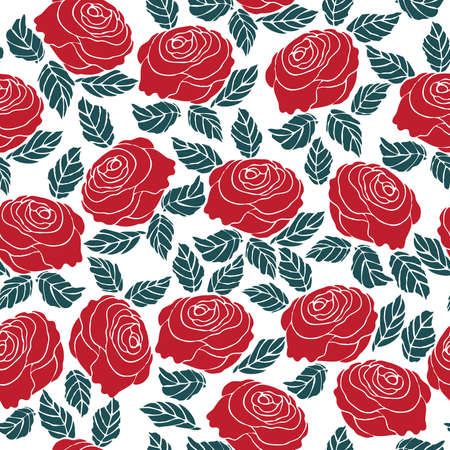 Seamless pattern of red rose flower