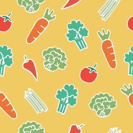 vegetable cartoon: Patr�n transparente de dibujos animados de verduras, ilustraci�n vectorial