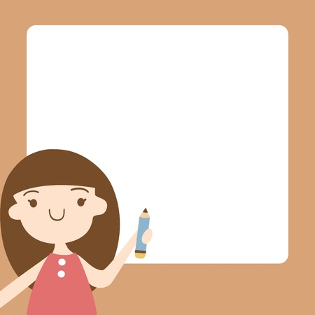 memo pad: Cartoon girl with blank space for your text, Vector illustration