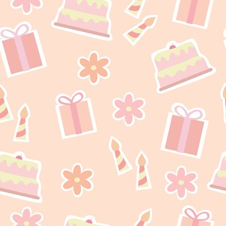 Seamless Pattern Of Birthday Elements Illustration background