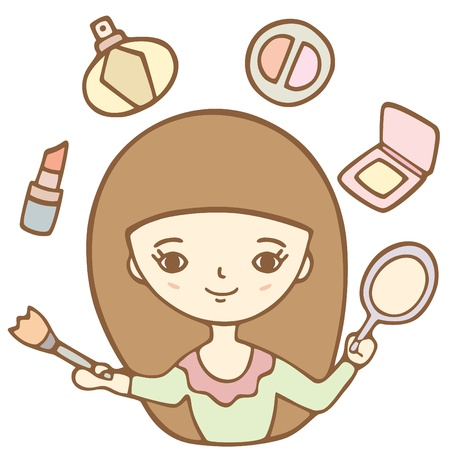 Cartoon Cute Girl Doing Her Makeup With The Mirror Vector Illustration