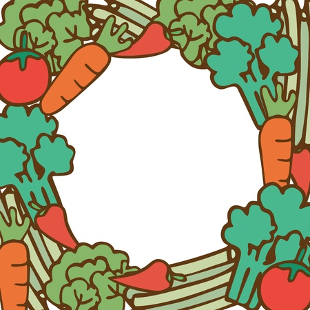 Frame of vegetable on empty space for your text, Vector illustration