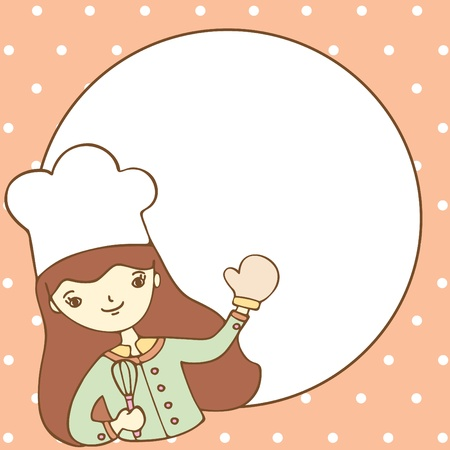 Cute girl chef with an empty space for your text, Vector illustration Illustration