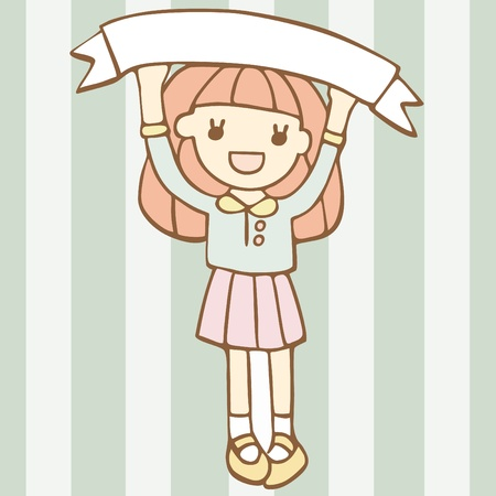 Cheerful Girl With Blank Space For Your Text, Cartoon vector illustration 일러스트