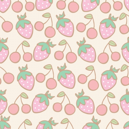 Seamless pattern of strawberry and cherry cartoon, Vector illustration Vector