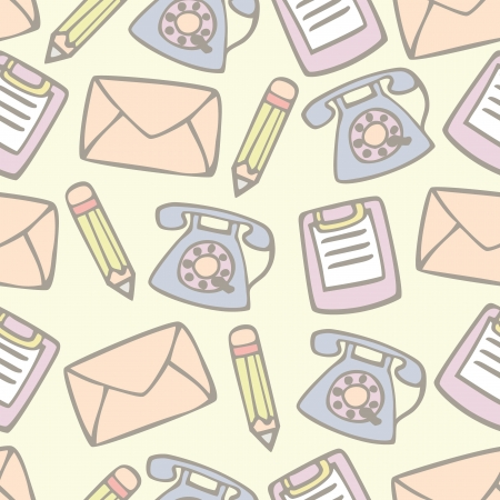 Seamless pattern of tools and Objects for office supply , Cartoon vector illustration Illustration