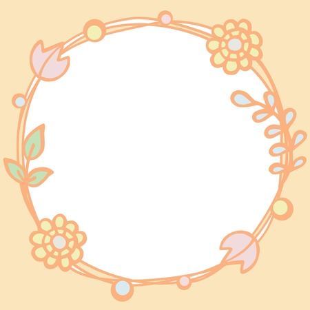 Frame of pastel color tone flowers with empty space, Vector illustration