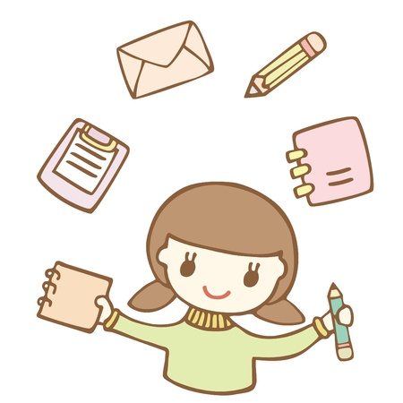 Cartoon cute girl with stationery icon, Vector illustration