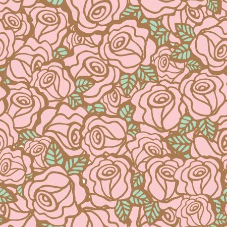 Seamless pattern background of vintage style roses flower, Vector illustration Illustration