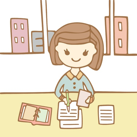 Woman worker in office with document, Cartoon illustration Illustration