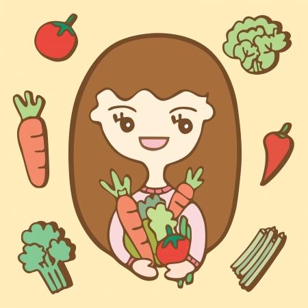 Cartoon cute Girl With Vegetables, Vector illustration Illustration