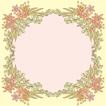 Frame of flower on empty space, Vector illustration
