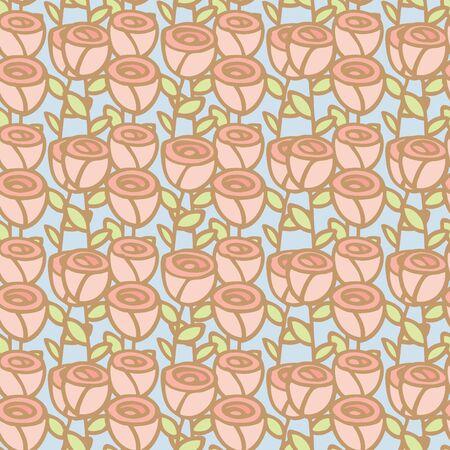 Seamless pattern of rose flower, Vector illustration background