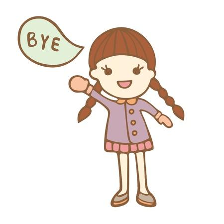 addio: Cute cartoon ragazza dicendo bye, illustrazione vettoriale Vettoriali
