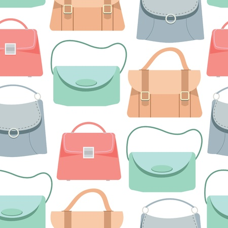 casual fashion: Seamless pattern background of colorful bags, Vector illustration