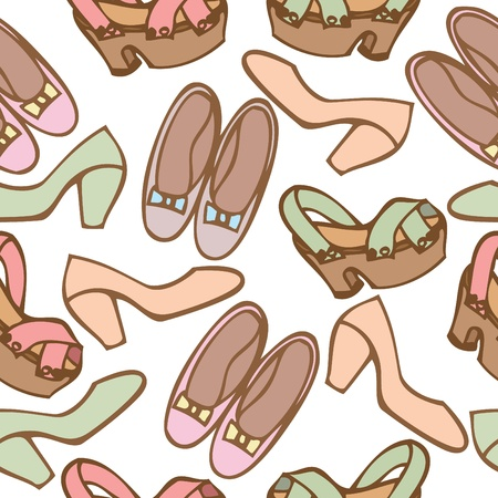 Seamless pattern background of woman shoes, Vector illustration