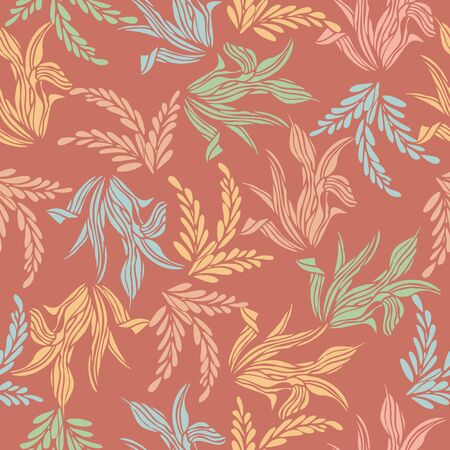 Seamless pattern background of colorful leaf flower, Vector illustration