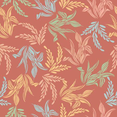 Seamless pattern background of colorful leaf flower, Vector illustration