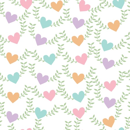 Seamless pattern background of heart shape with green leaf, Vector illustration Illustration