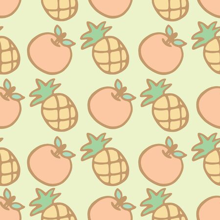 Seamless pattern background of cartoon pineapple and orange, Vector illustration