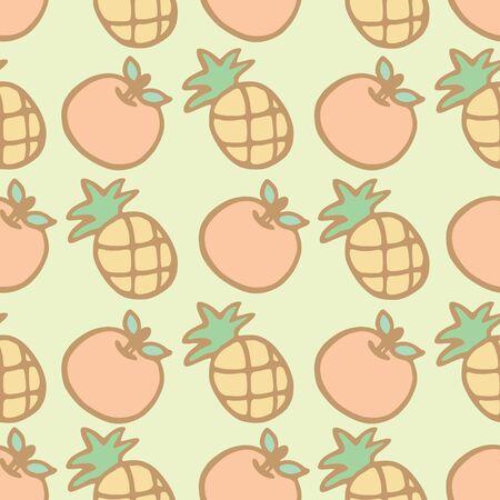 Seamless pattern background of cartoon pineapple and orange, Vector illustration