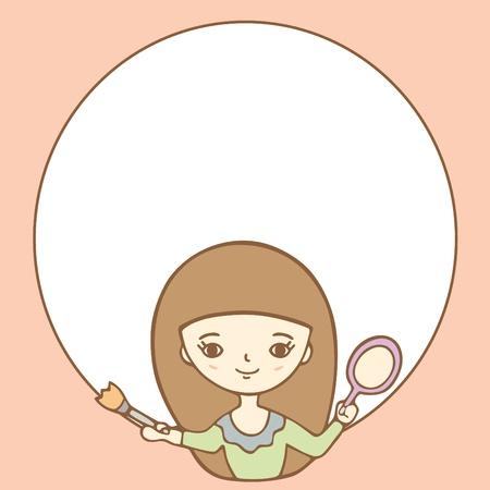 Cartoon Girl Doing Her Makeup Illustration