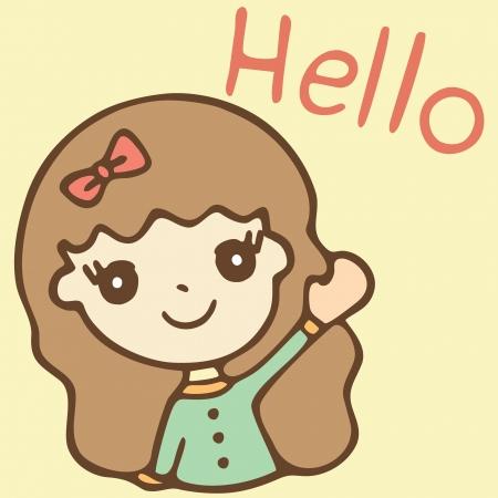 Cartoon cute girl saying hello, Vector illustration Illustration