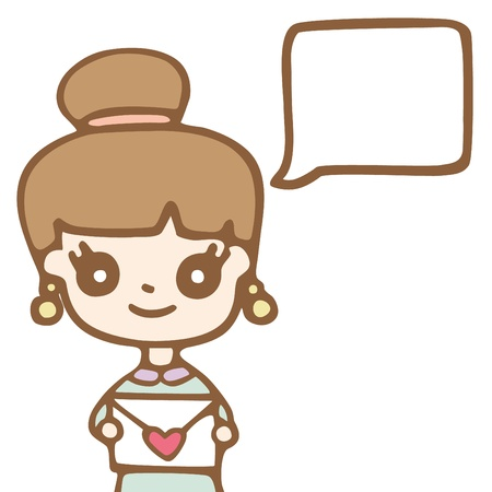 Cartoon cute girl with space bubble for your text.